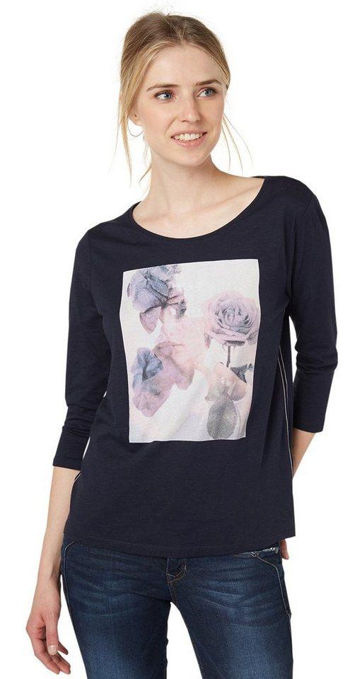 TOM TAILOR DENIM T-Shirt »T-Shirt mit Rosen-Print« in sky captain blue