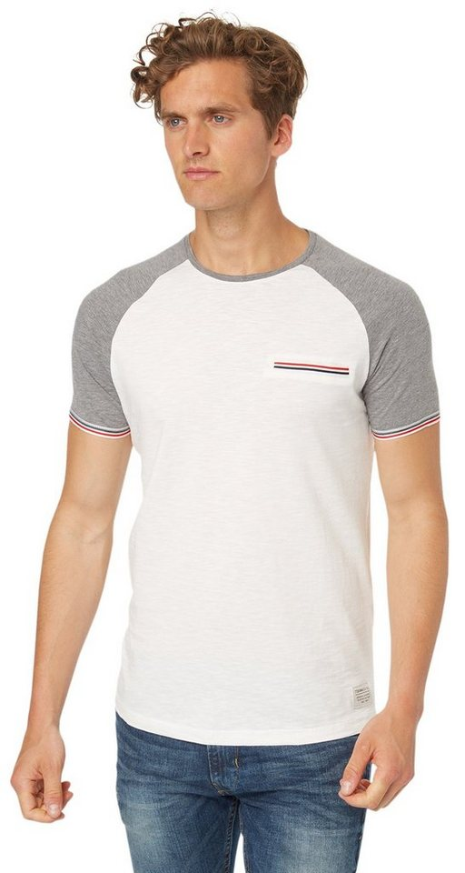 TOM TAILOR DENIM T-Shirt »Kurzarm T-Shirt mit Raglan-Ärmeln« in heather grey melange