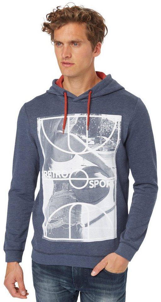 TOM TAILOR DENIM Sweatshirt »hoody w. sporty print« in night sky blue