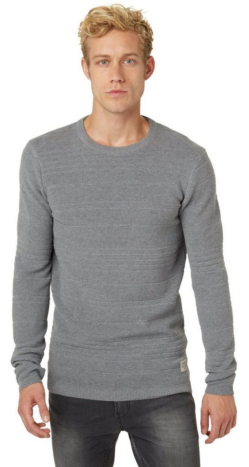 TOM TAILOR DENIM Pullover »Strickpullover mit Streifenstruktur« in heather grey melange