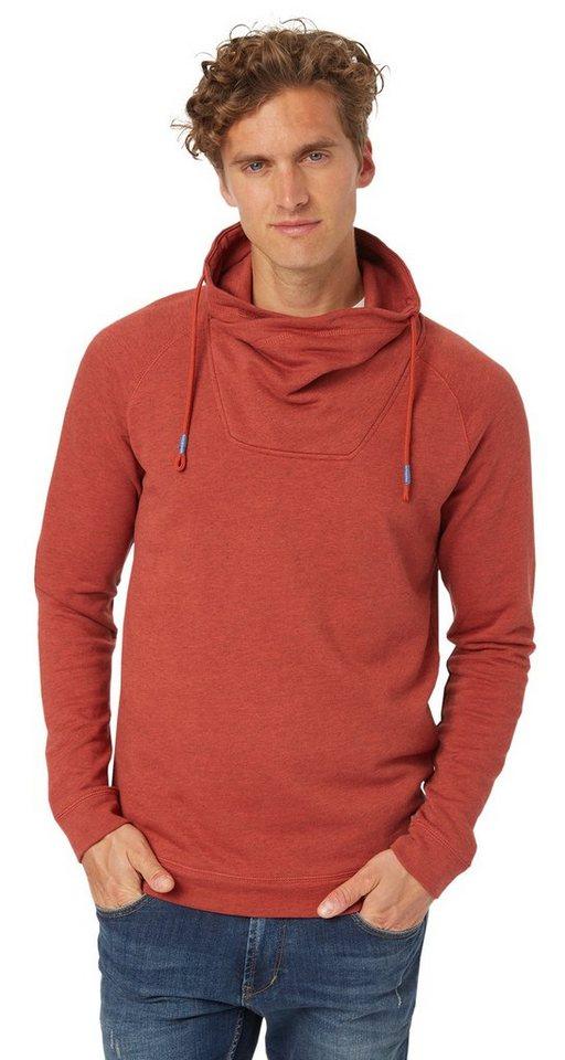TOM TAILOR DENIM Sweatshirt »overdye mélange snood« in burned red slate
