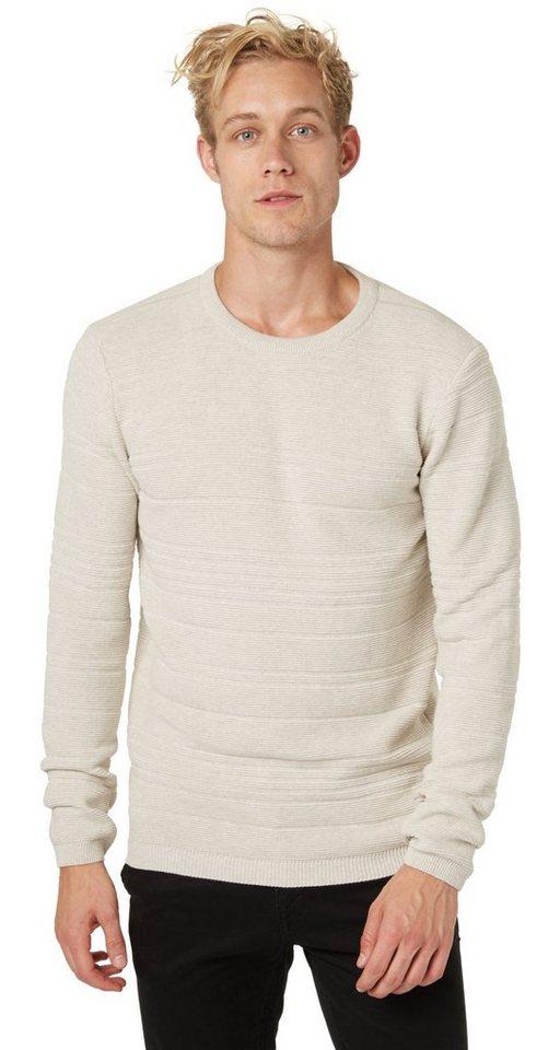 TOM TAILOR DENIM Pullover »structured pullover« in ecru melange