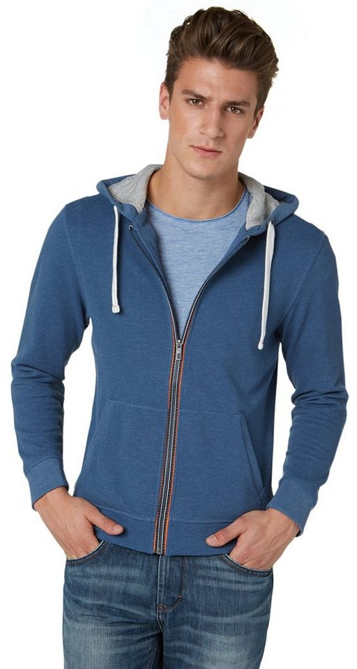 TOM TAILOR Sweatjacke »Piqué-Jacke mit Kapuze« in ensign blue