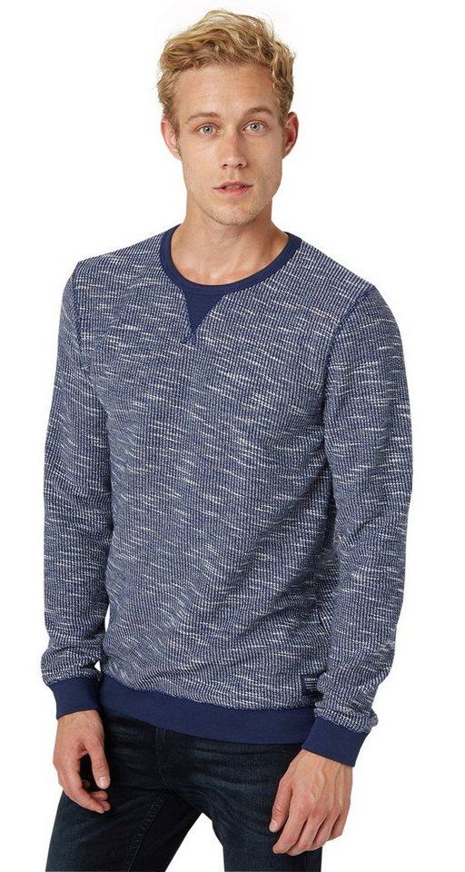 TOM TAILOR DENIM Sweatshirt »slub structure crewneck« in cosmos blue