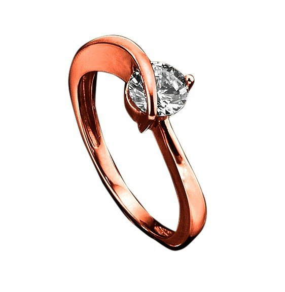 Jacques Lemans Ring 375/- Rotgold mit Zirkonia weiß in rosa