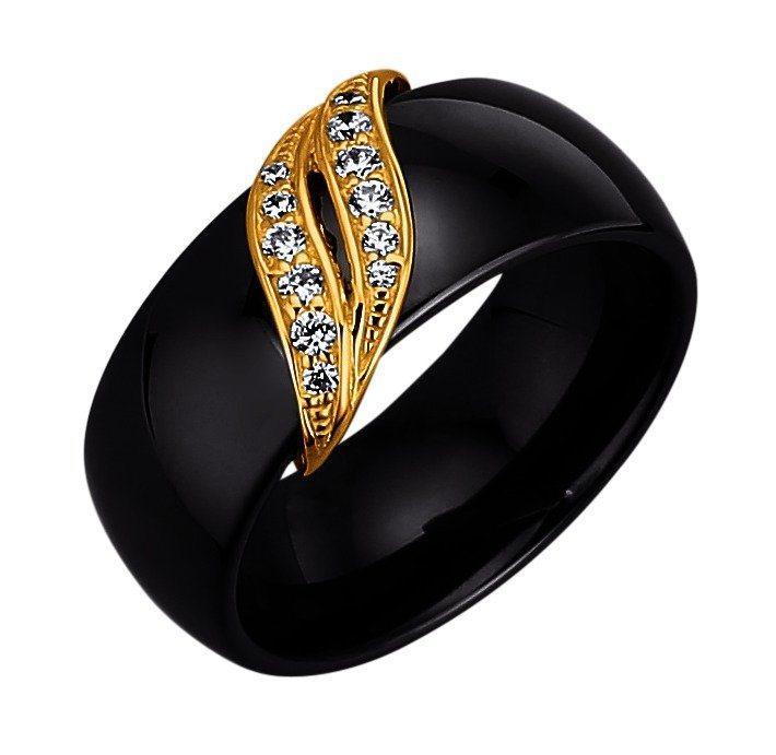 Jacques Lemans Ring 925/- Sterling Silber gelbvergoldet mit Keramik und Zirkoni in schwarz