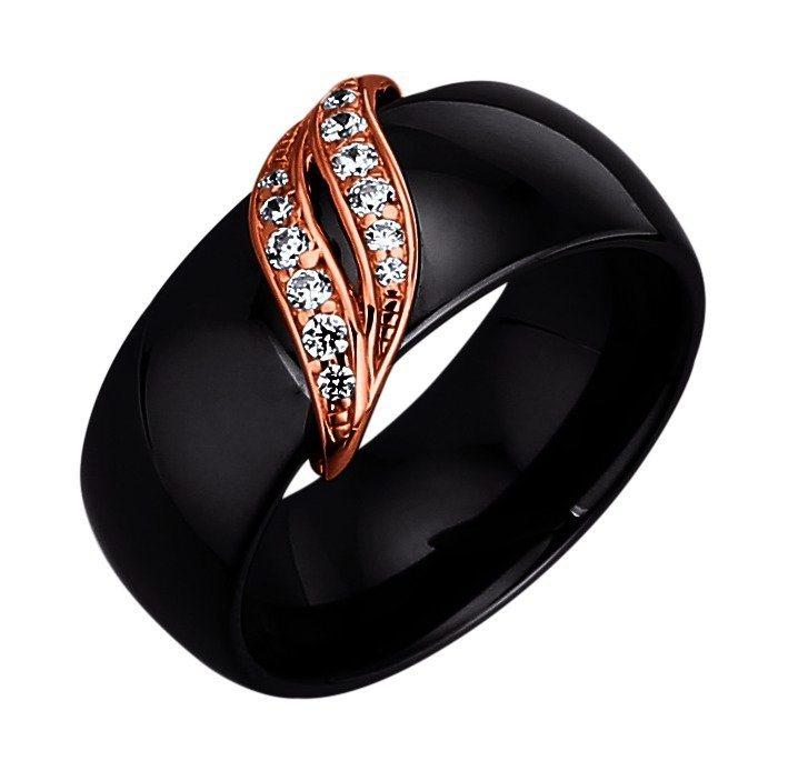 Jacques Lemans Ring 925/- Sterling Silber rotvergoldet mit Keramik und Zirkonia in schwarz