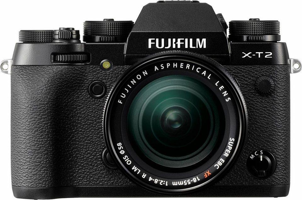 FUJIFILM X-T2 Kit System Kamera, FUJINON XF18-55mm F2,8-4 R LM OIS Zoom, 24,3 Megapixel in schwarz
