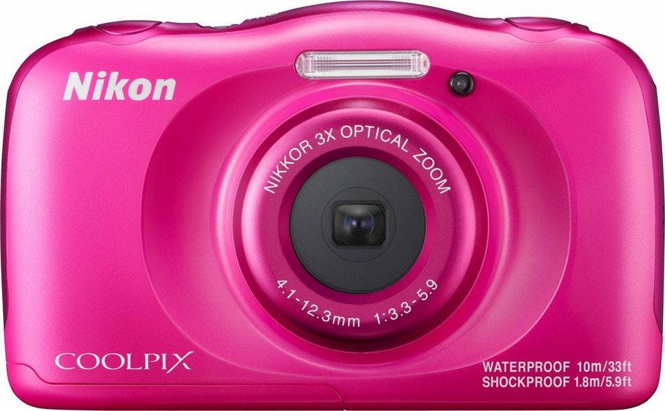 Nikon Coolpix W100 Kompakt Kamera, 13,2 Megapixel, 3x opt. Zoom, 6,7 cm (2,7 Zoll) Display in rosa