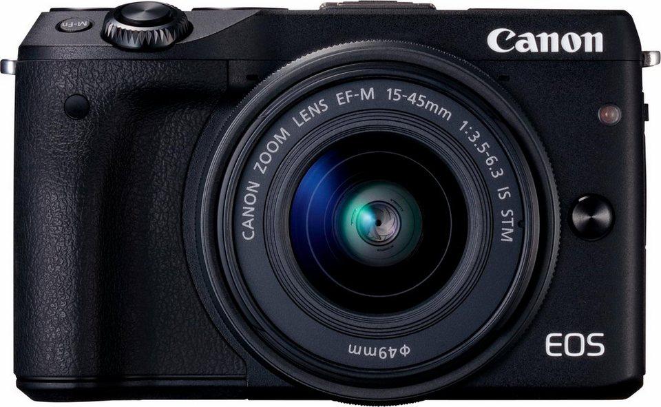 Canon EOS M3 Kit System Kamera, EF-M 15-45mm f/3,5-6,3 IS STM Zoom, 24,2 Megapixel in schwarz