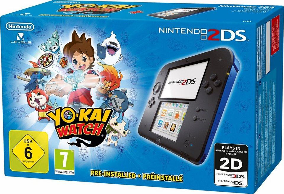 Nintendo 2 DS + Yo-Kai Watch vorinstalliert mit 3 Jahren Garantie* in schwarz/blau