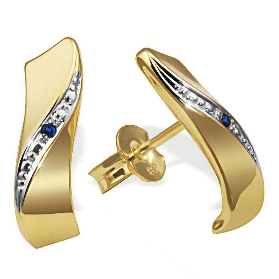 goldmaid Paar Ohrstecker 333/- Gelbgold 2 blaue Safire in goldfarben