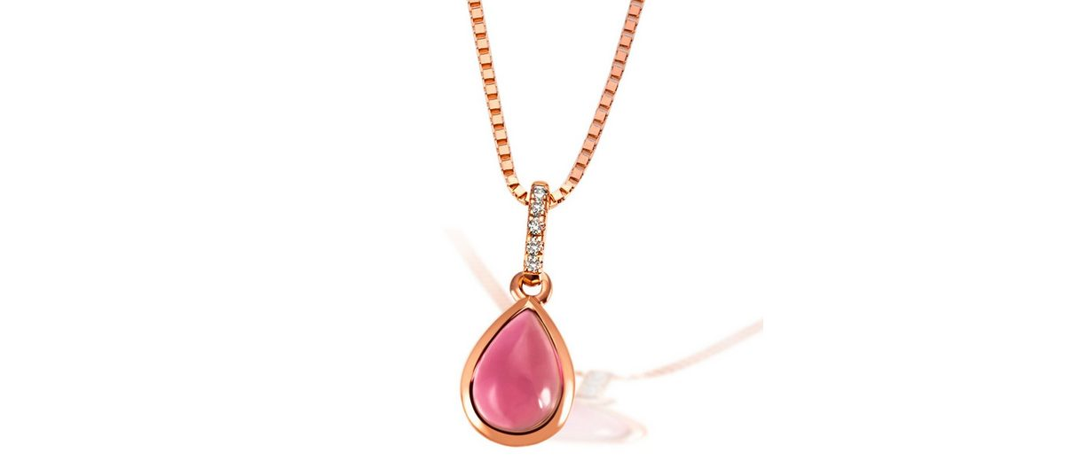goldmaid Collier 585/- Rotgold 1 pinker Turmalin 5 weiße Brillanten 0,02