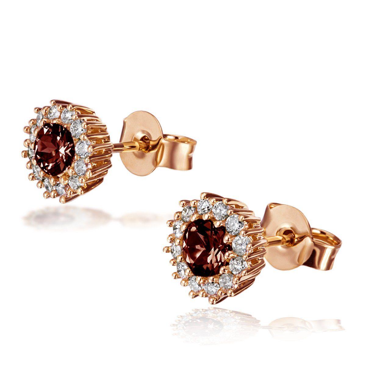 goldmaid Paar Ohrstecker 585/- Rotgold 2 Rhodolite 24 Brill.