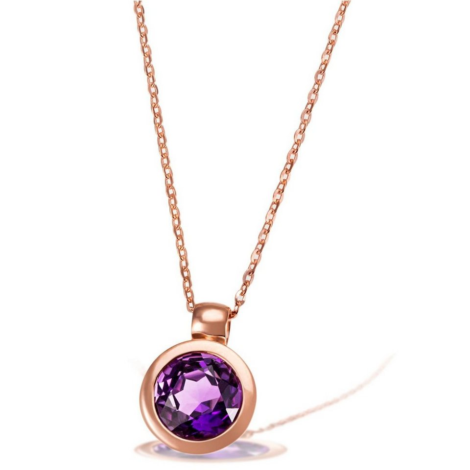 goldmaid Collier 375/- Rotgold 1 lila Amethyst in rosegoldfarben