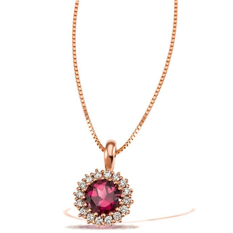 goldmaid Collier 585/- Rotgold 1 dunkel roter Rhodolit 16 weiße Brillante in rosegoldfarben