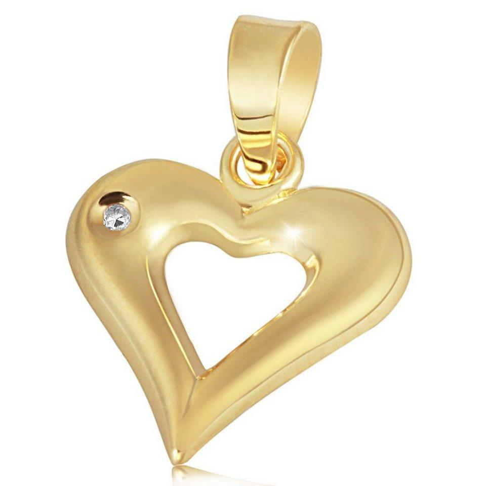 goldmaid Anhänger Gelbgold 585 1 Diamant 0,01 Karat Herz in goldfarben