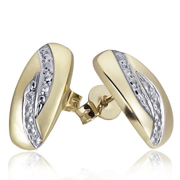 goldmaid Paar Ohrstecker Bicolor 375/- Gelbgold 2 Diamanten 0,01 ct.