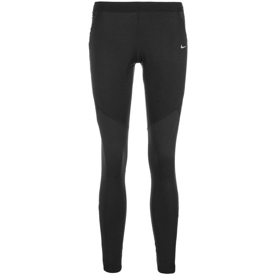 NIKE Dri-FIT Shield Lauftight Damen in schwarz / silber