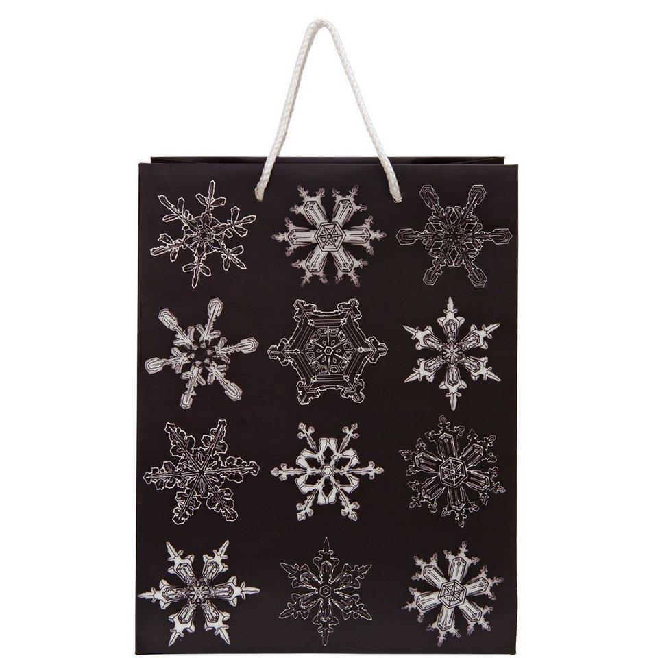 BUTLERS X-MAS »Geschenktasche Snowflake groß« in grau-schwarz