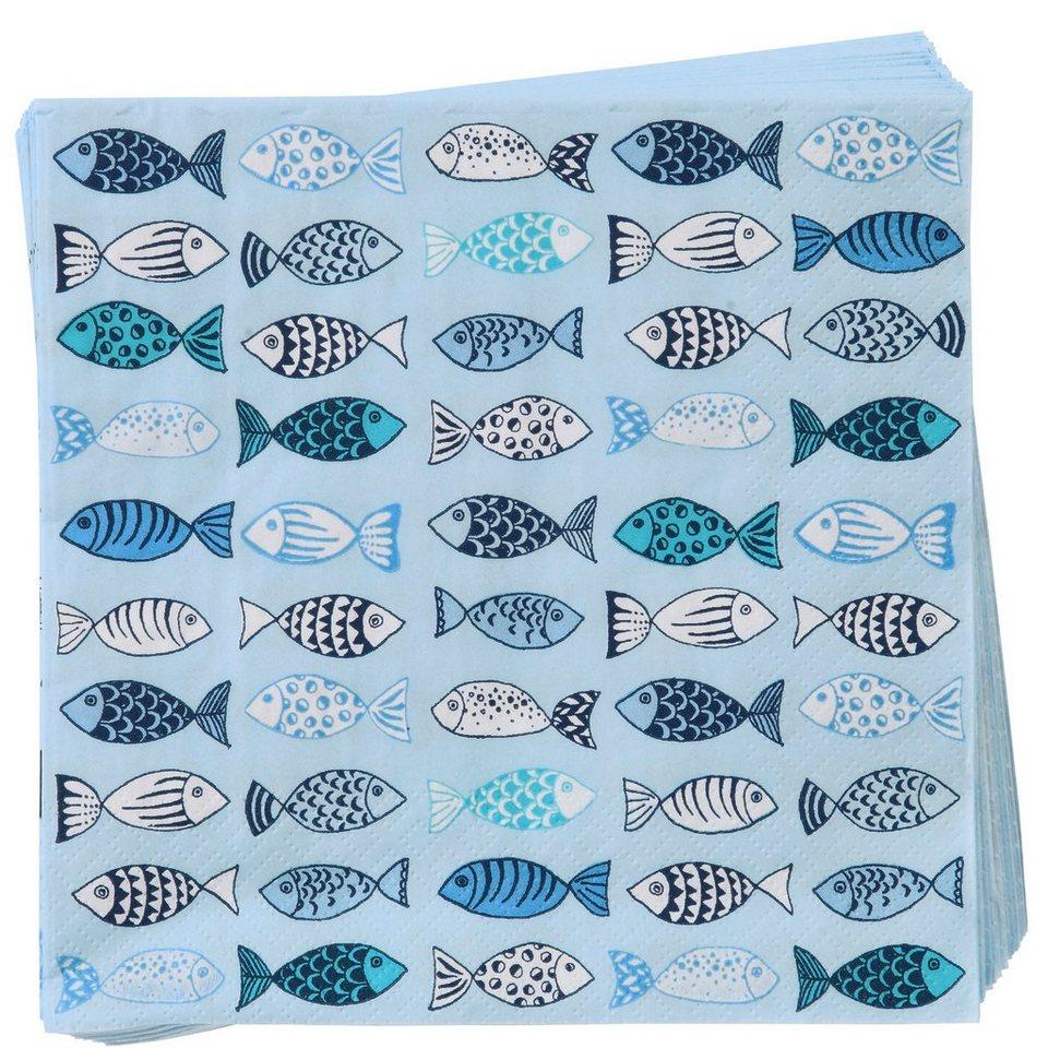 BUTLERS APRÈS »Papierserviette Fische« in Weiß