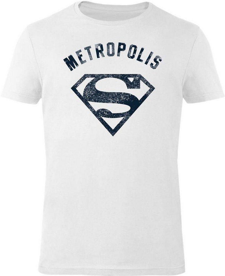 Gozoo T-Shirt »Superman - Vintage Logo Metropolis« in White