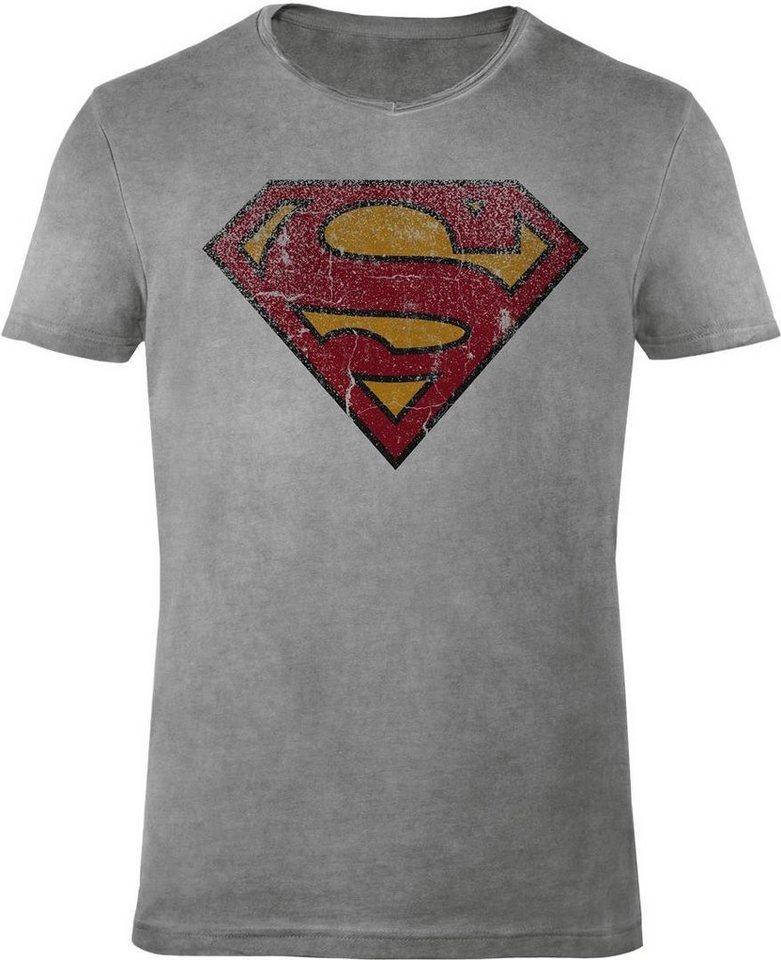 Gozoo T-Shirt »Superman - Vintage Logo« in Oil Dye