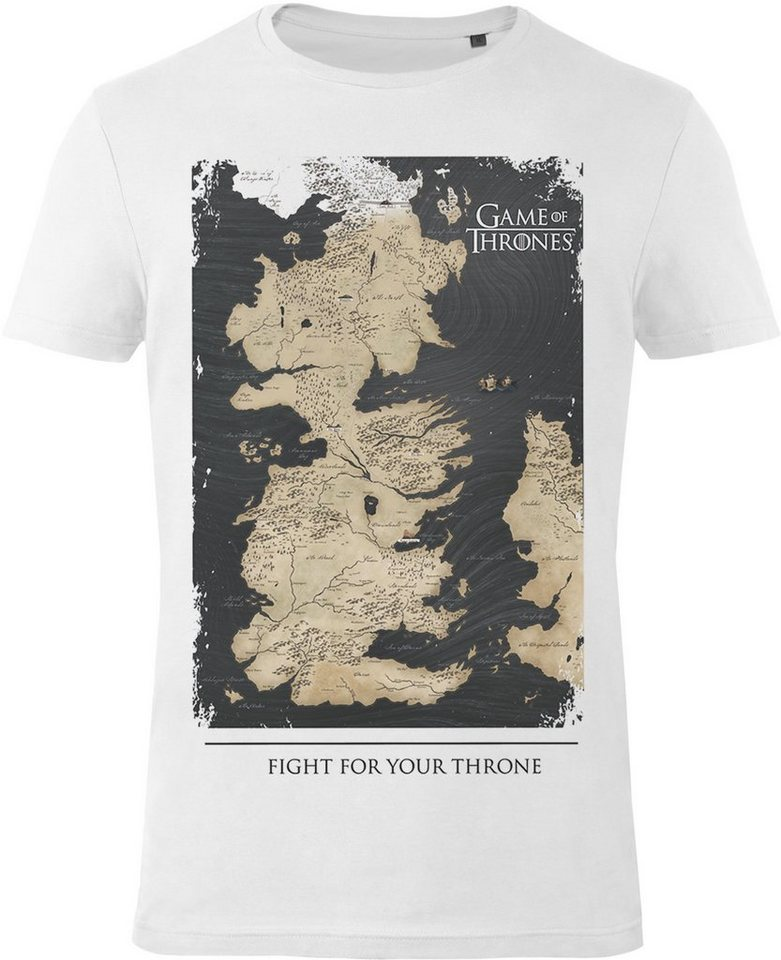 Gozoo T-Shirt »Game of Thrones - Westeros Map - Fight For Your Th« in White