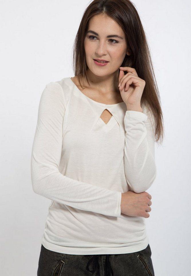 Mexx Langarmshirt mit Schlüsselloch-Ausschnitt in weiß