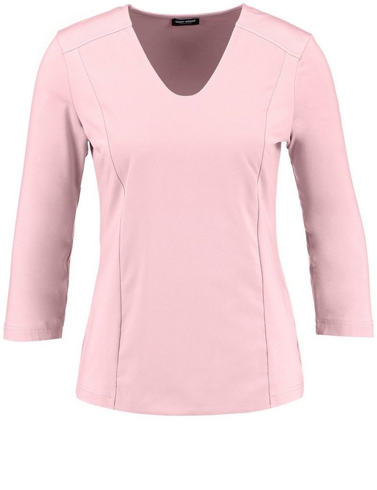 Gerry Weber T-Shirt 3/4 Arm Rundhals »3/4 Arm Shirt mit Materialpatch« in Rosé
