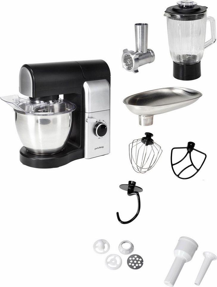 Privileg Küchenmaschine, 4,5 Liter, 700 Watt, schwarz/silber, mit viel Zubehör in schwarz/silber