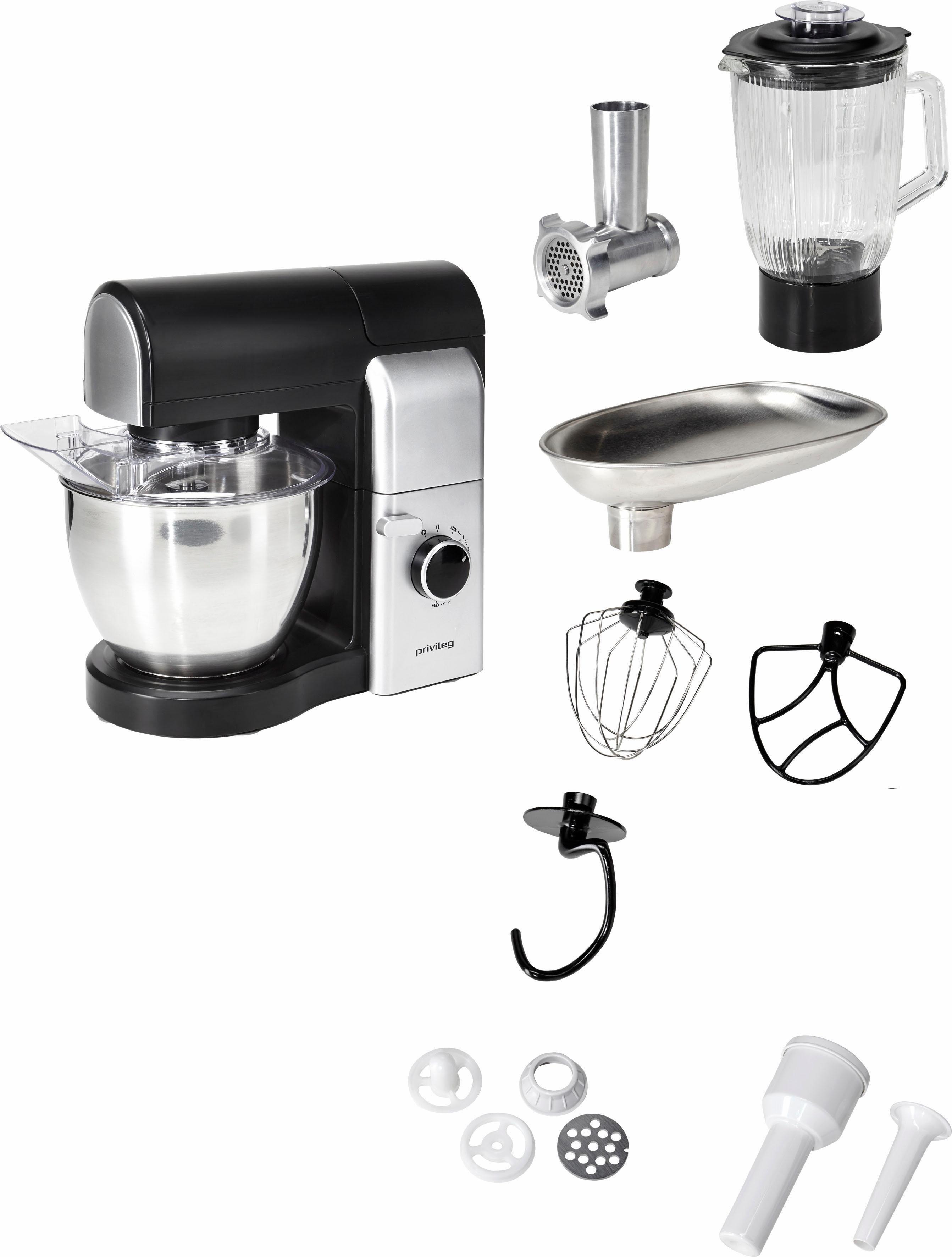 Privileg Küchenmaschine, 4,5 Liter, 700 Watt, schwarz/silber, mit viel Zubehör