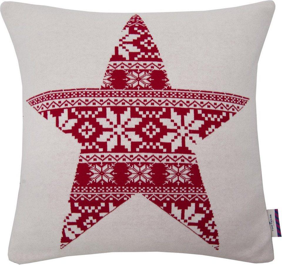 Kissenhüllen, Tom Tailor, »NORWAY STAR« (1 Stück) in weiß/rot
