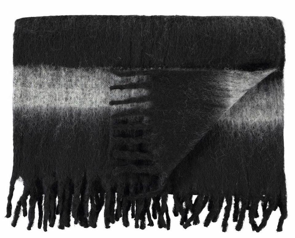 Wolldecke, Marc O'Polo Home, »Stripe Wool«, in Filz-Optik in schwarz