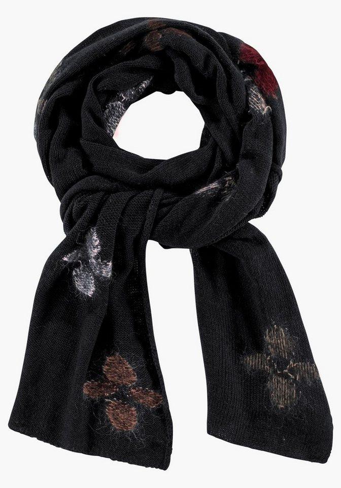 STEFANEL Wollschal mit florelen Elementen in schwarz-Intarsienmuster