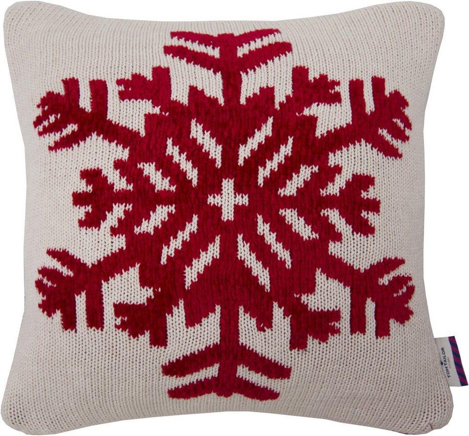 Kissenhüllen, Tom Tailor, »CHENILLE SNOWFLAKE« (1 Stück) in weiß/rot