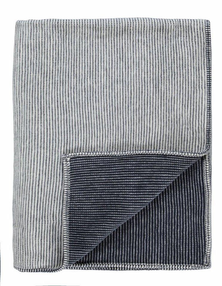Wohndecke, Marc O'Polo Home, »Zarr«, mit feinen Streifen in grau-marine