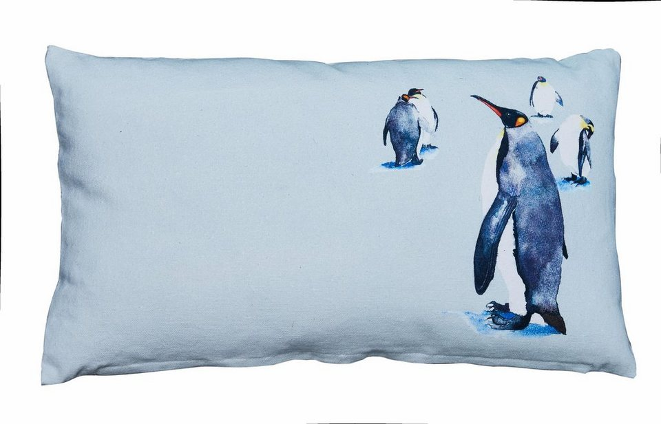 Dekokissen, Covers & Co, »Penguin«, mit Tiermotiven in blau
