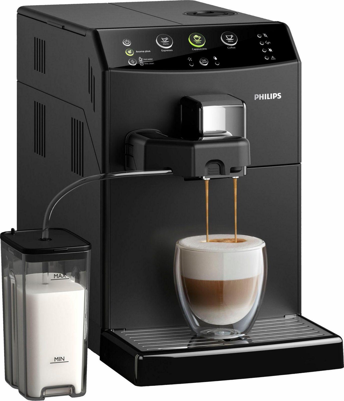 Philips Kaffeevollautomat Series 3000 HD8829/01 Easy Cappuccino, 1,8l Tank, Scheibenmahlwerk