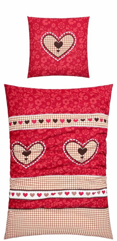 Bettwäsche, Casatex, »Andermatt«, mit Herzen bedruckt in rot-beige