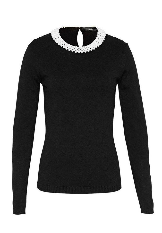 HALLHUBER Pullover mit Perlenausschnitt in schwarz