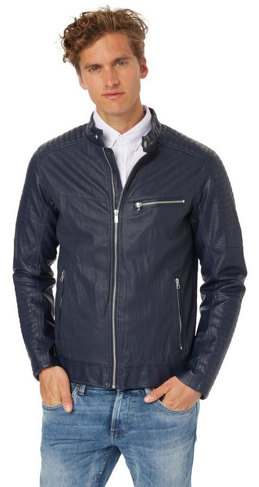 TOM TAILOR DENIM Lederjacke »Biker leather look jacket« in night sky blue