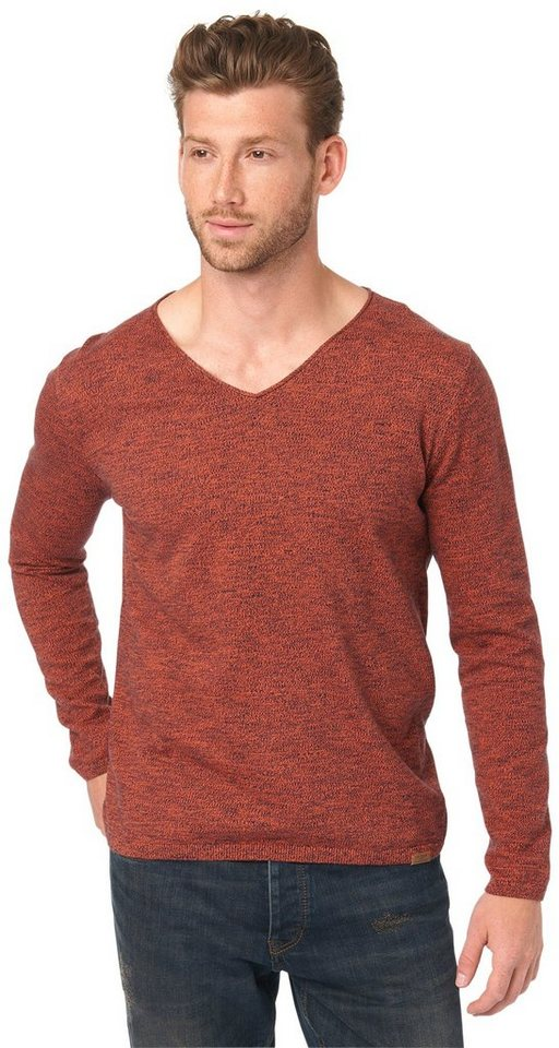 TOM TAILOR Pullover »fein gemusterter Pullover« in lux coral red