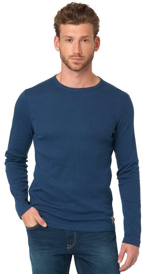 TOM TAILOR T-Shirt »unifarbenes Langarm-Shirt« in dark denim blue
