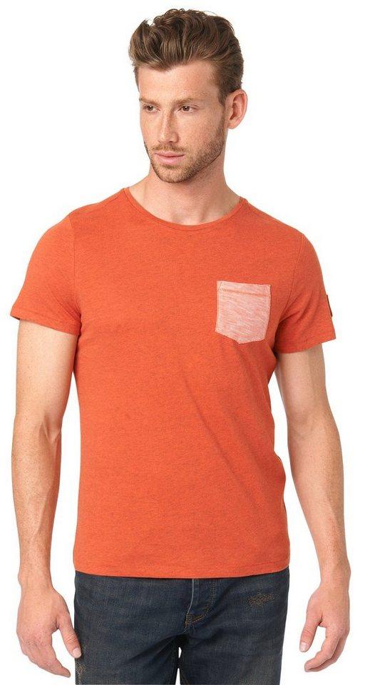 TOM TAILOR T-Shirt »T-Shirt mit Tasche und Badge« in lux coral red