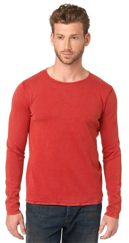 TOM TAILOR Pullover »Pullover in Used-Optik« in dull red