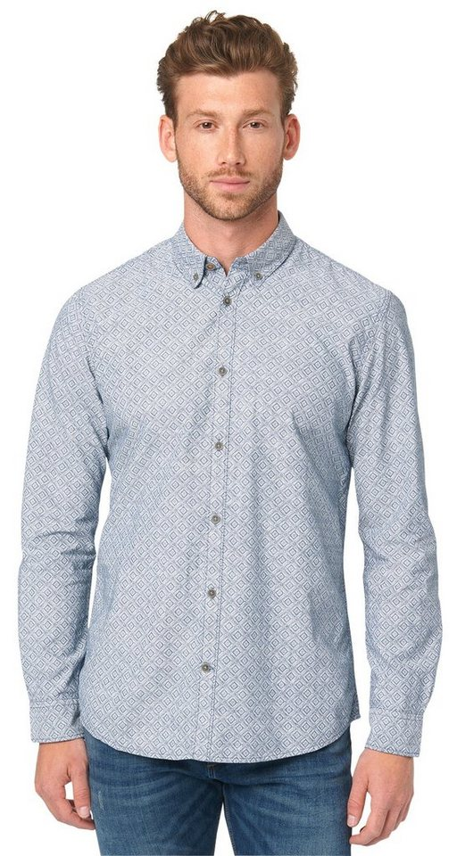 TOM TAILOR Hemd »ray printed chambray shirt« in ensign blue