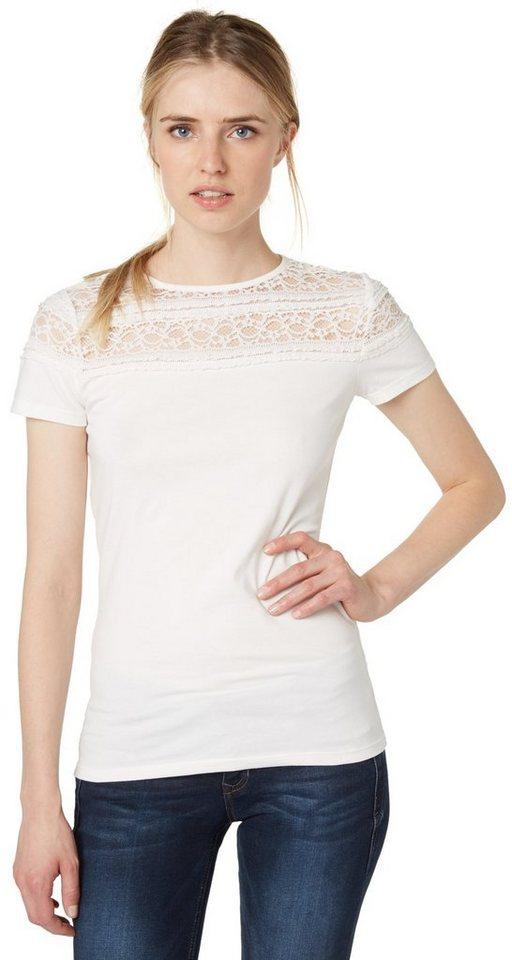 TOM TAILOR DENIM T-Shirt »feminines T-Shirt mit Spitze« in off white