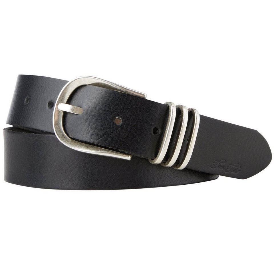 TOM TAILOR Gürtel »Ledergürtel mit Metallschlaufen« in black