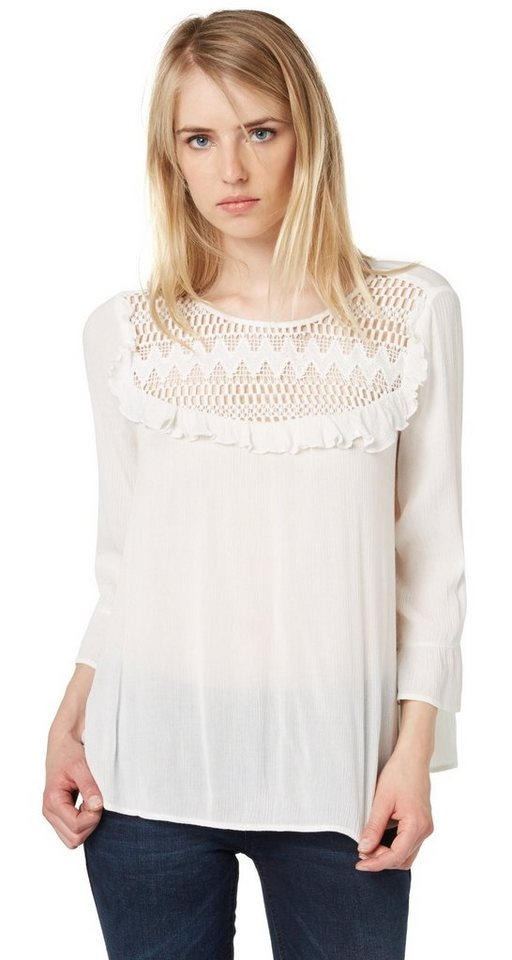 TOM TAILOR DENIM Bluse »feminine Rüschenbluse« in off white